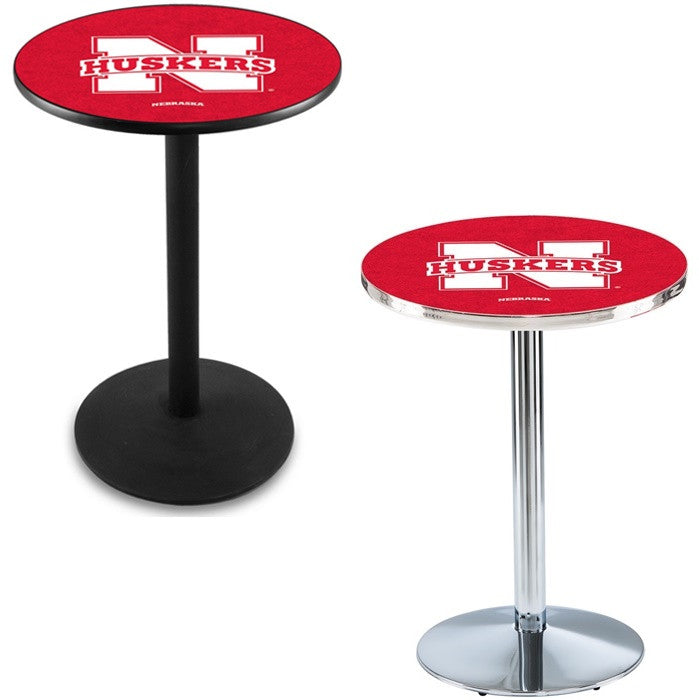 Nebraska Huskers Round-Base Pub Table - Sports Fans Plus