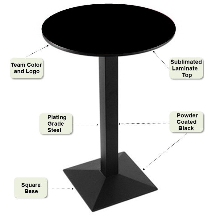 Black Square-Base Pub Table Features