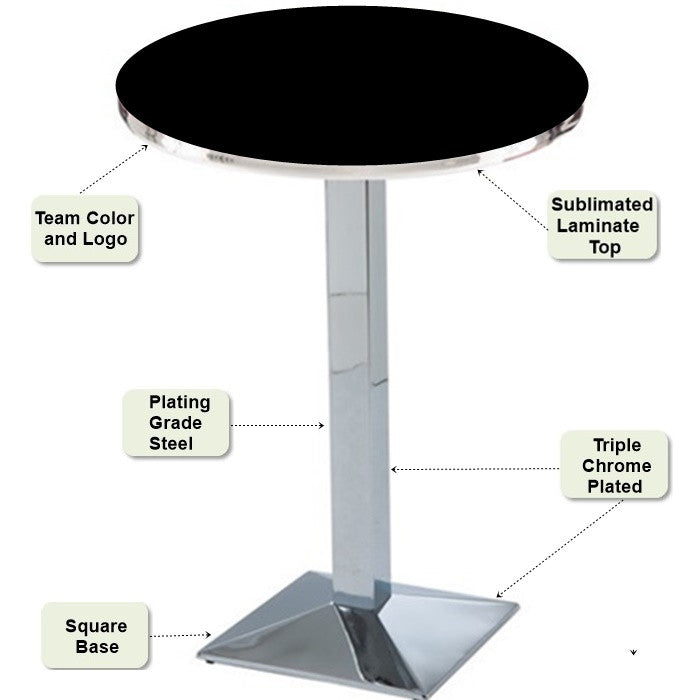 Chrome Square-Base Pub Table Features