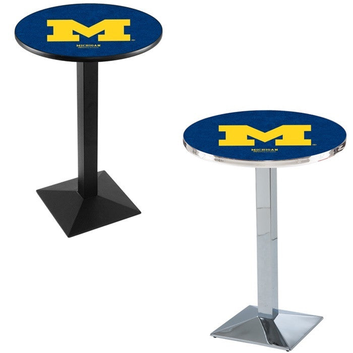 Michigan Wolverines Square-Base Pub Table
