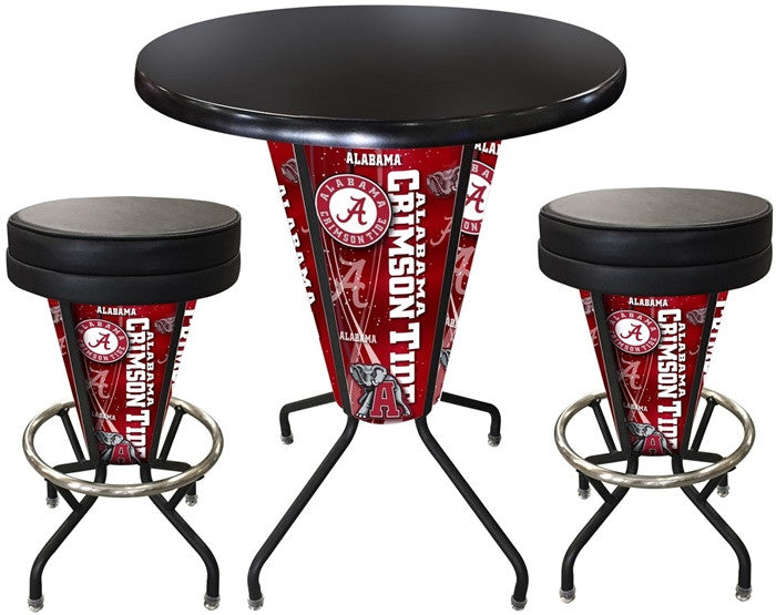 Alabama Crimson Tide D1 Black Lighted Pub Table Set