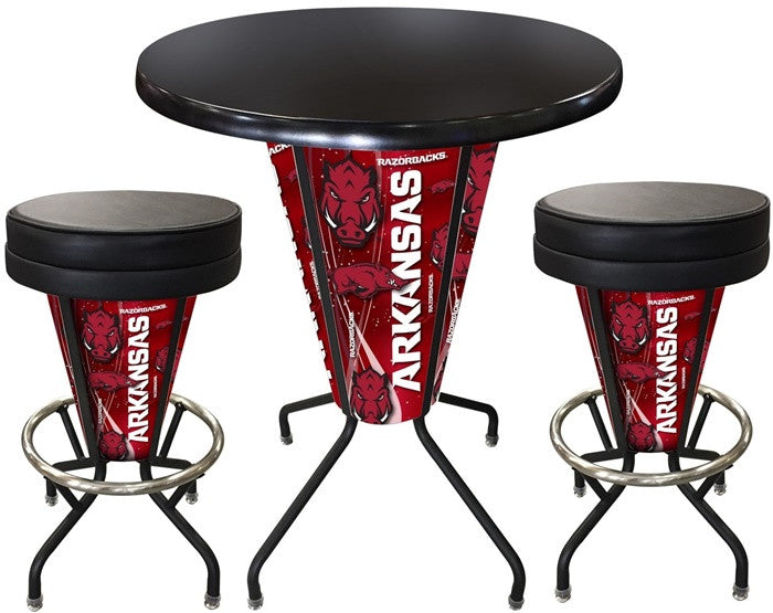 Arkansas Razorbacks D1 Black Lighted Pub Table Set