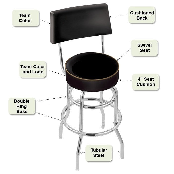Chrome Retro Bar Stool with Back Features