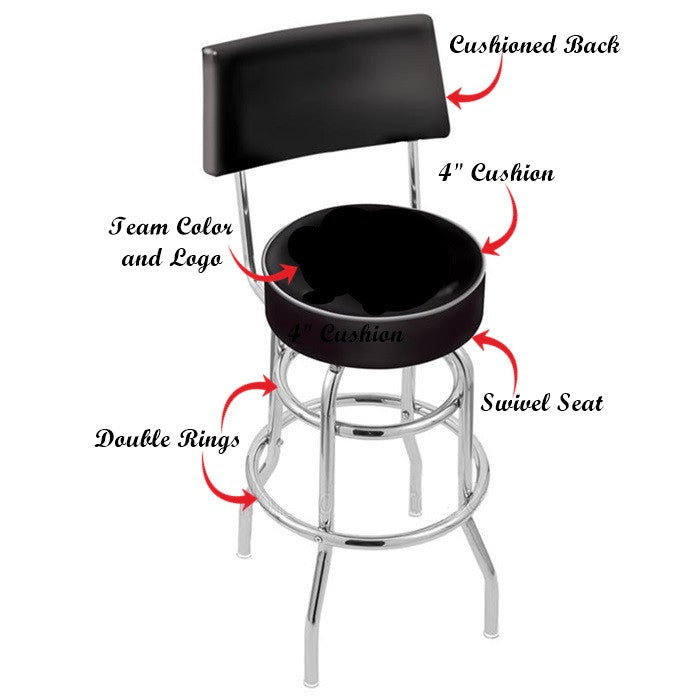 Michigan Wolverines Chrome Retro Bar Stool with Back