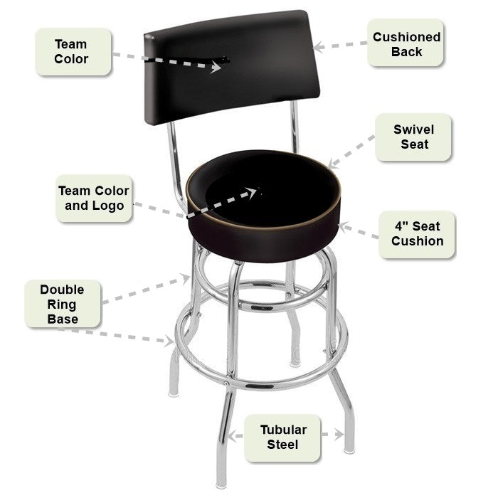 Retro Chrome Bar Stool with Back Features