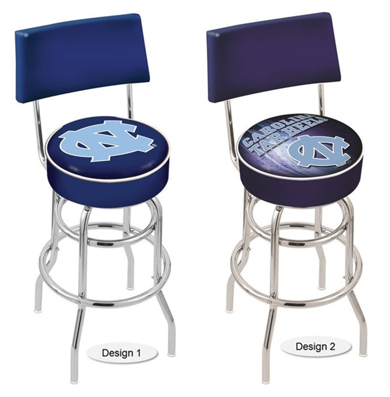 North Carolina Tar Heels Chrome Retro Bar Stool with Back