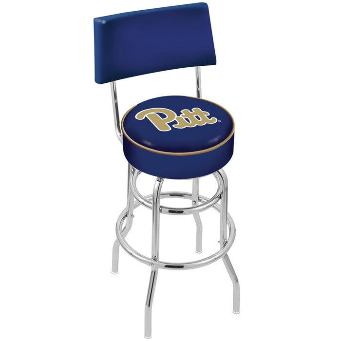 Pitt Panthers Chrome Retro Bar Stool with Back - Sports Fans Plus