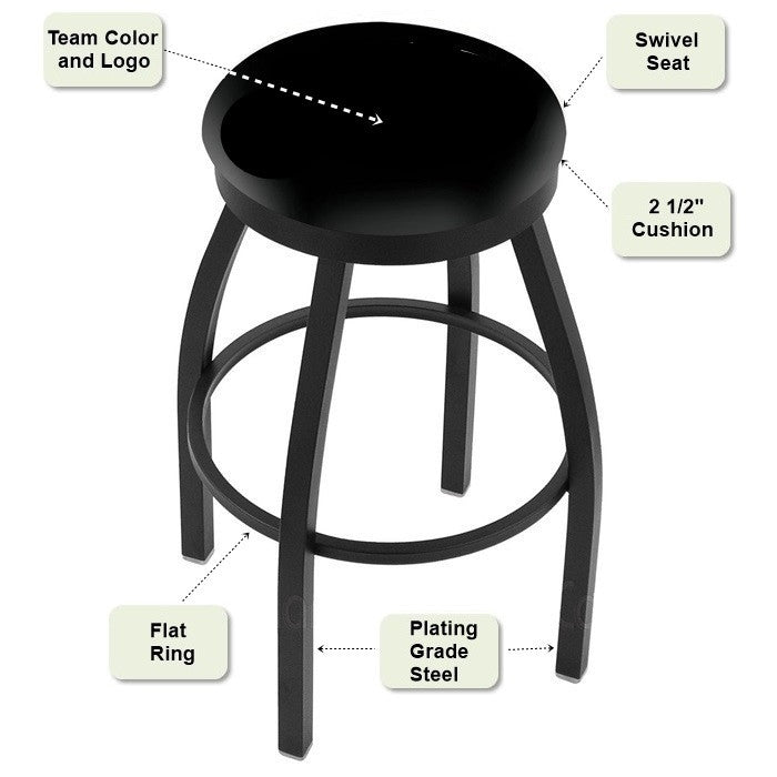 Black Flat Ring Bar Stool Features