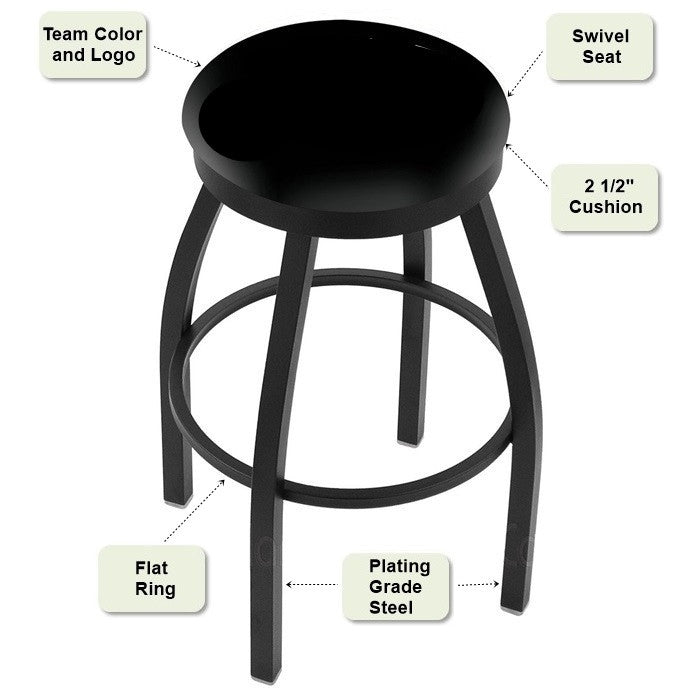 Black Flat Ring Bar Stool