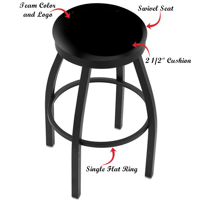 Kansas State Wildcats Black Flat Ring Bar Stool