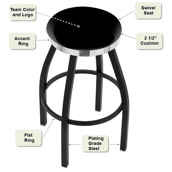 Flat Chrome Ring Black Bar Stool Features