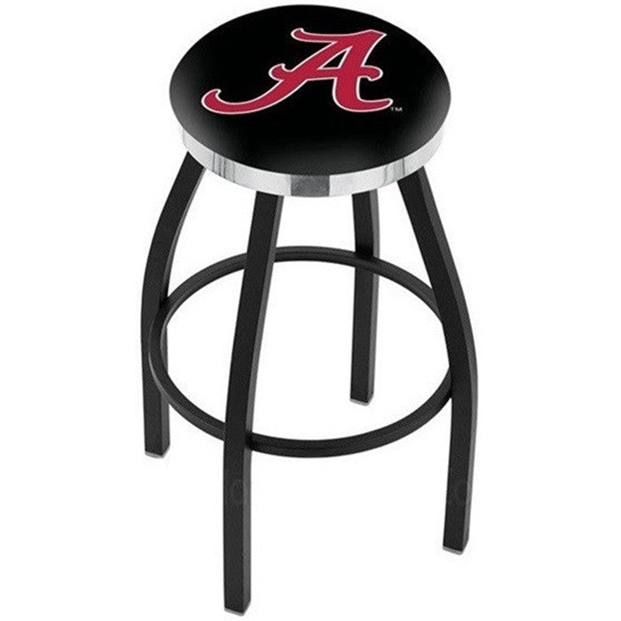 Alabama Crimson Tide A D1 Flat Chrome Ring Black Bar Stool - SportsFansPlus.com
