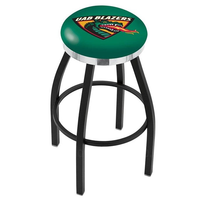 Alabama at Birmingham Blazers Flat Chrome Ring Black Bar Stool - SportsFansPlus.com