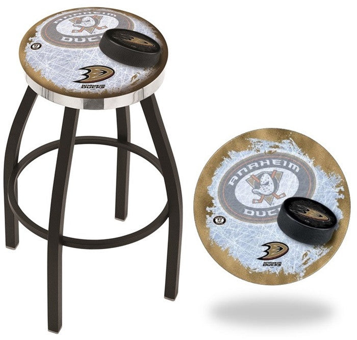Anaheim Ducks NHL D2 Flat Chrome Ring Black Bar Stool