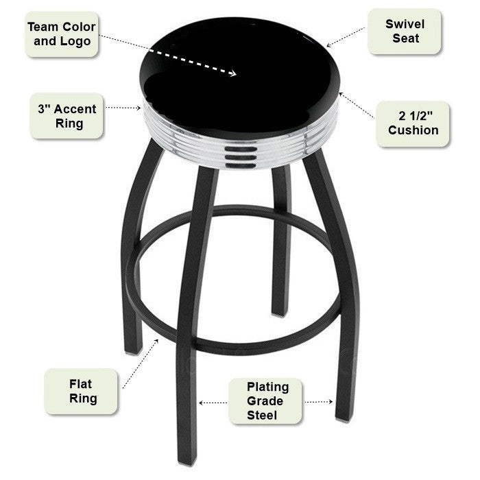 Chrome Ribbed Ring Black Bar Stool Features