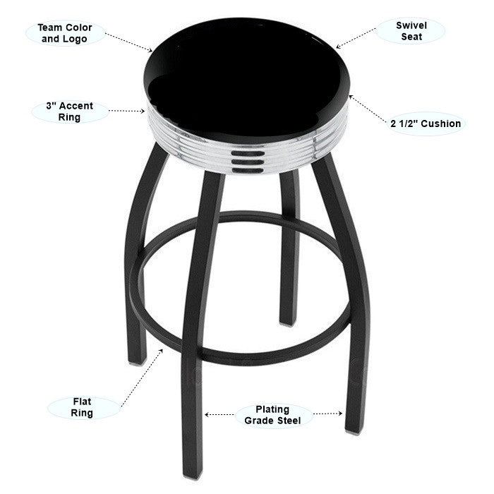 Appalachian State Mountaineers Chrome Ribbed Ring Black Bar Stool - Sports Fans Plus - 2