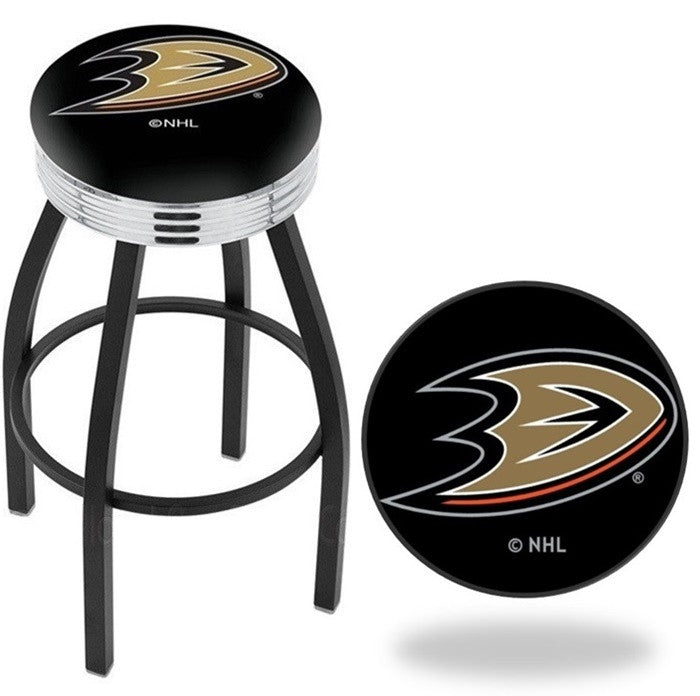 Anaheim Ducks NHL D1 Chrome Ribbed Ring Black Bar Stool