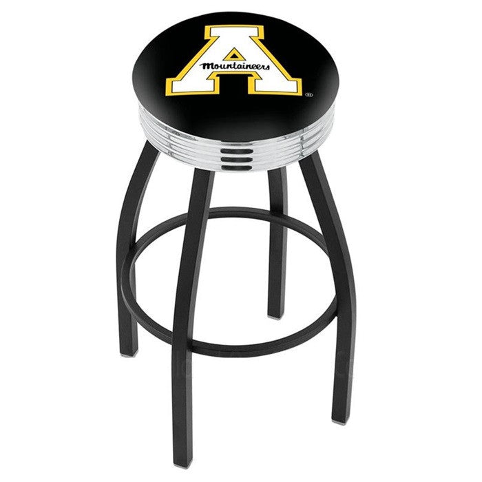 Appalachian State Mountaineers Chrome Ribbed Ring Black Bar Stool - Sports Fans Plus - 1