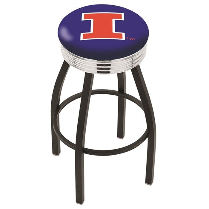 Illinois Fighting Illini Chrome Ribbed Ring Black Bar Stool - Sports Fans Plus