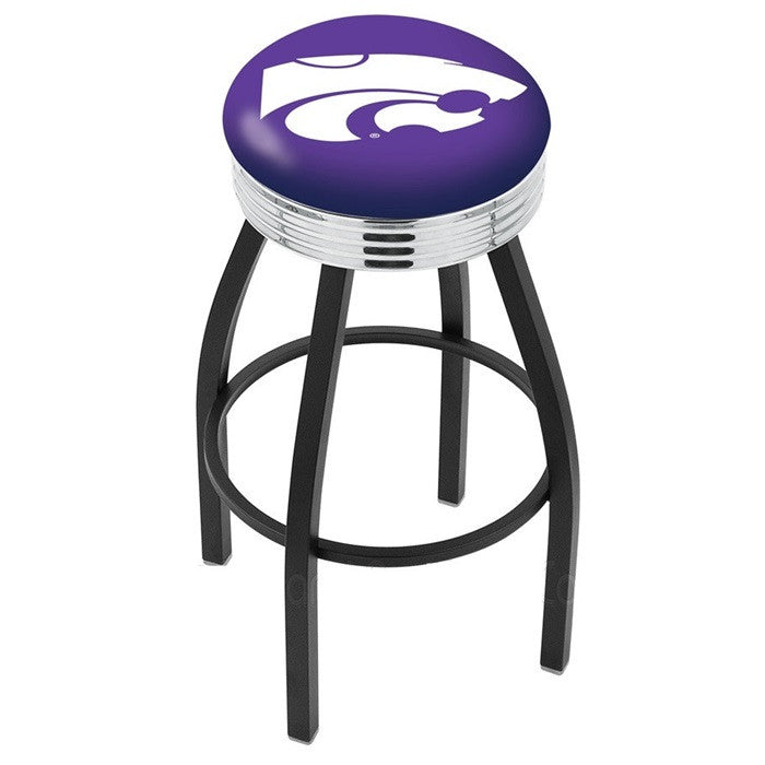 Kansas State Wildcats Chrome Ribbed Ring Black Bar Stool - Sports Fans Plus