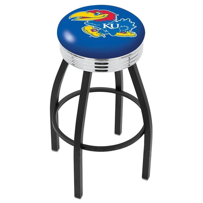 Kansas Jayhawks Chrome Ribbed Ring Black Bar Stool - Sports Fans Plus