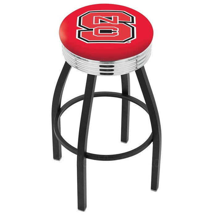 North Carolina State Wolfpack Chrome Ribbed Ring Black Bar Stool - Sports Fans Plus