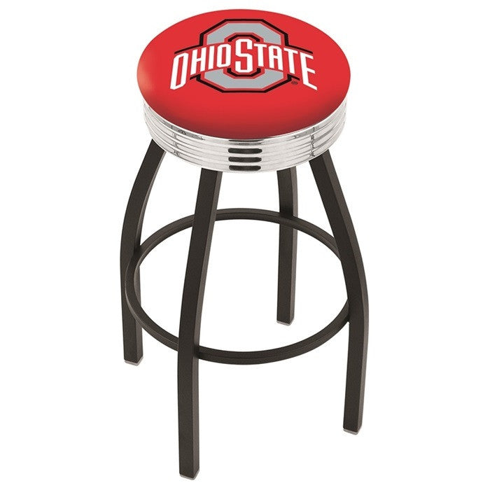 Ohio State Buckeyes Chrome Ribbed Ring Black Bar Stool - Sports Fans Plus