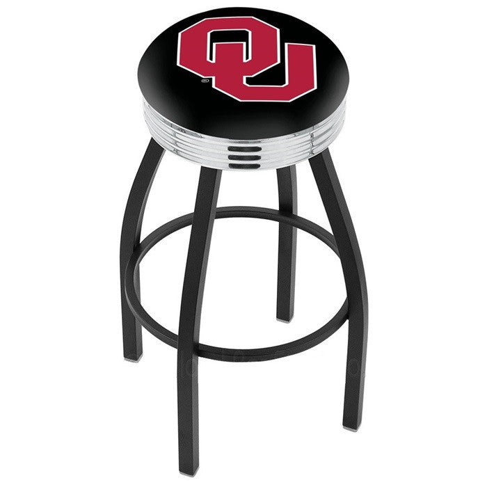 Oklahoma Sooners Chrome Ribbed Ring Black Bar Stool - Sports Fans Plus