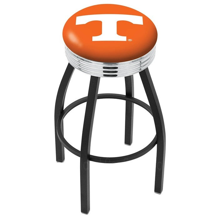 Tennessee Volunteers Chrome Ribbed Ring Black Bar Stool - Sports Fans Plus