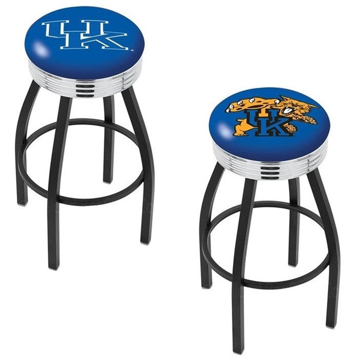 Kentucky Wildcats Chrome Ribbed Ring Black Bar Stool