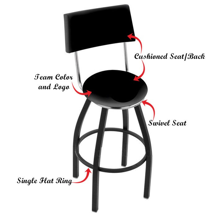 Arkansas Razorbacks Black Bar Stool with Back