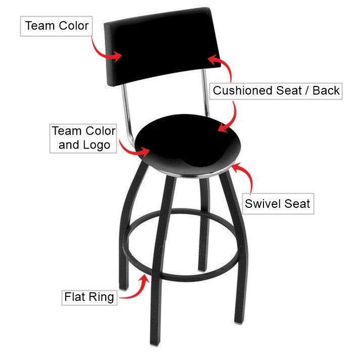 Virginia Tech Hokies Black Bar Stool with Back
