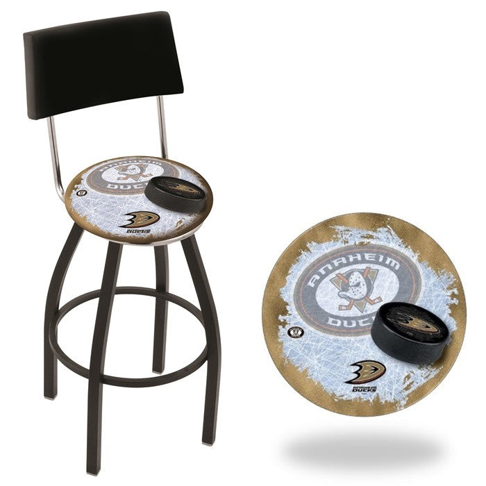 Anaheim Ducks NHL D2 Black Bar Stool with Back