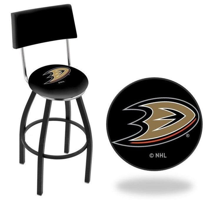 Anaheim Ducks NHL D1 Black Bar Stool with Back
