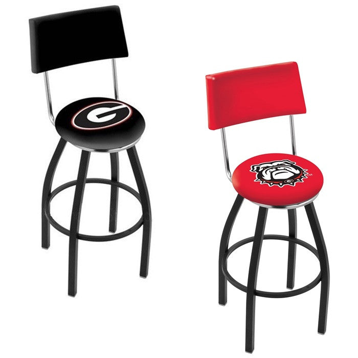 Georgia Bulldogs Black Bar Stool with Back - Sports Fans Plus - 1