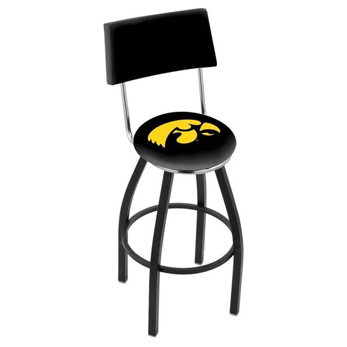 Iowa Hawkeyes Bar Stool with Back - Sports Fans Plus