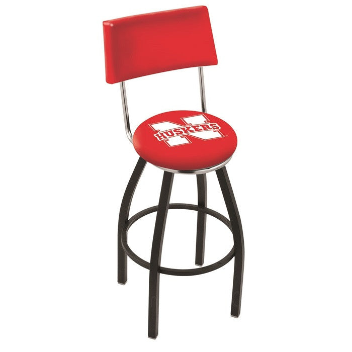 Nebraska Huskers Bar Stool with Back - Sports Fans Plus