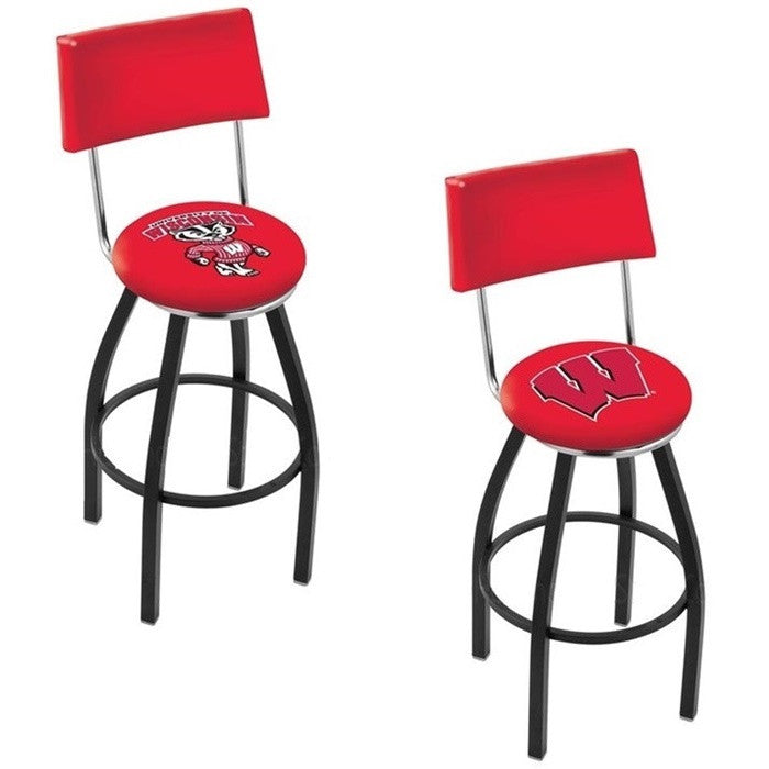 Wisconsin Badgers Black Bar Stool with Back