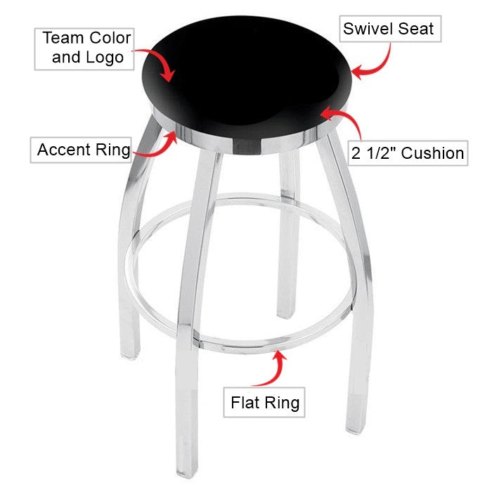 West Virginia Mountaineers Chrome Flat Ring Bar Stool