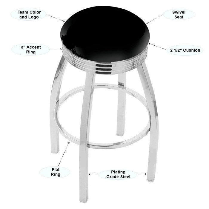 Appalachian State Mountaineers Chrome Ribbed Ring Bar Stool - Sports Fans Plus - 2