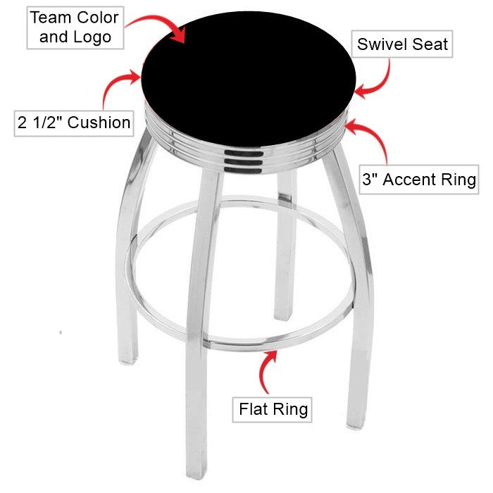 Virginia Tech Hokies Chrome Ribbed Ring Bar Stool