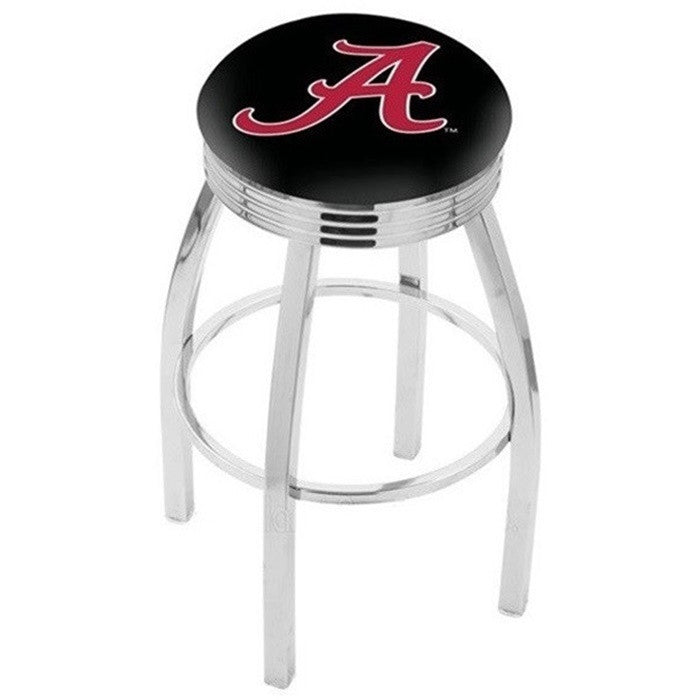 Alabama Crimson Tide A D1 Chrome Ribbed Ring Bar Stool - SportsFansPlus.com
