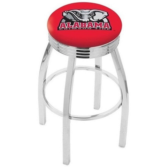 Alabama Crimson Tide Elephant D1 Chrome Ribbed Ring Bar Stool - SportsFansPlus.com