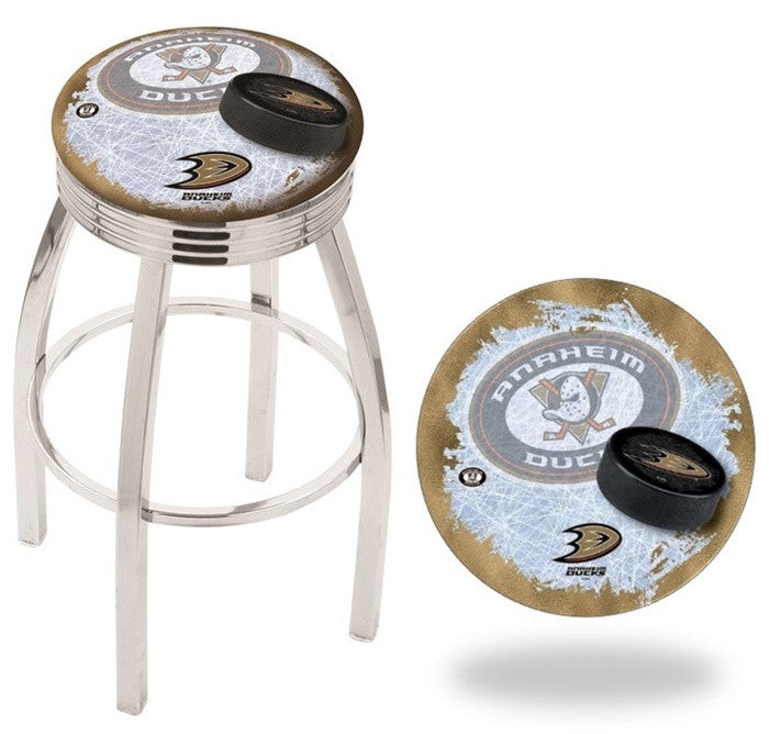 Anaheim Ducks NHL D2 Chrome Ribbed Ring Bar Stool