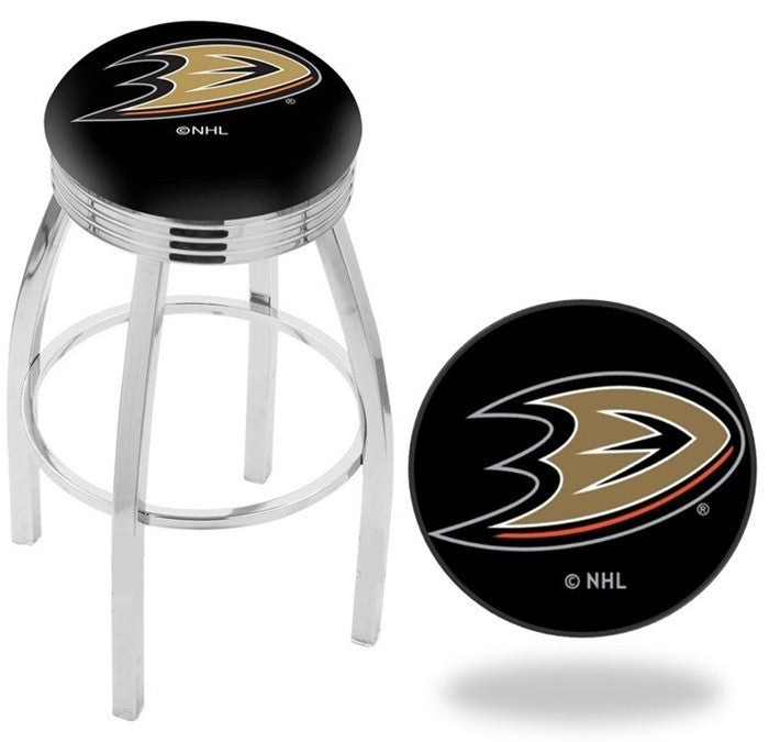 Anaheim Ducks NHL D1 Chrome Ribbed Ring Bar Stool