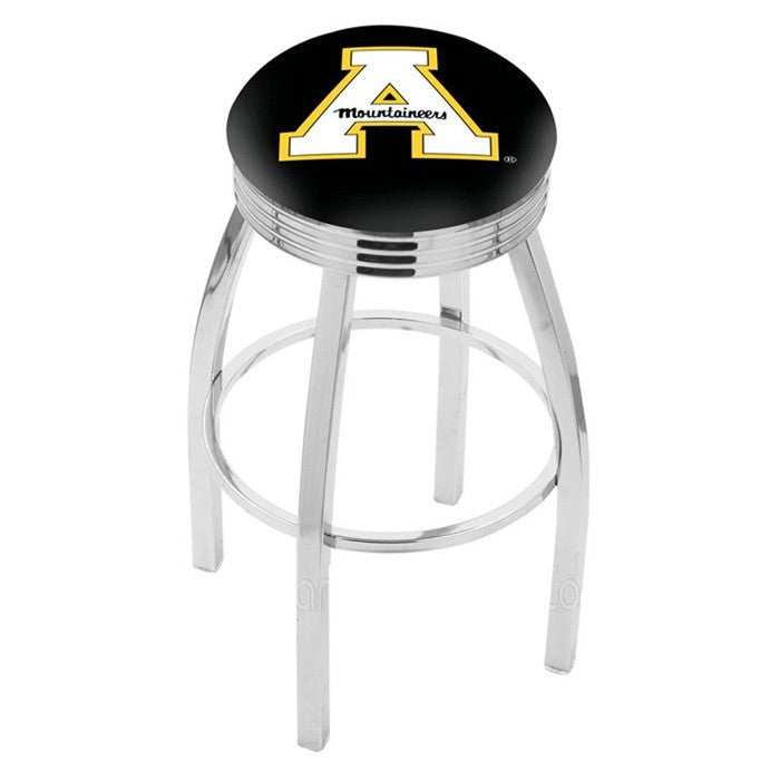 Appalachian State Mountaineers Chrome Ribbed Ring Bar Stool - Sports Fans Plus - 1