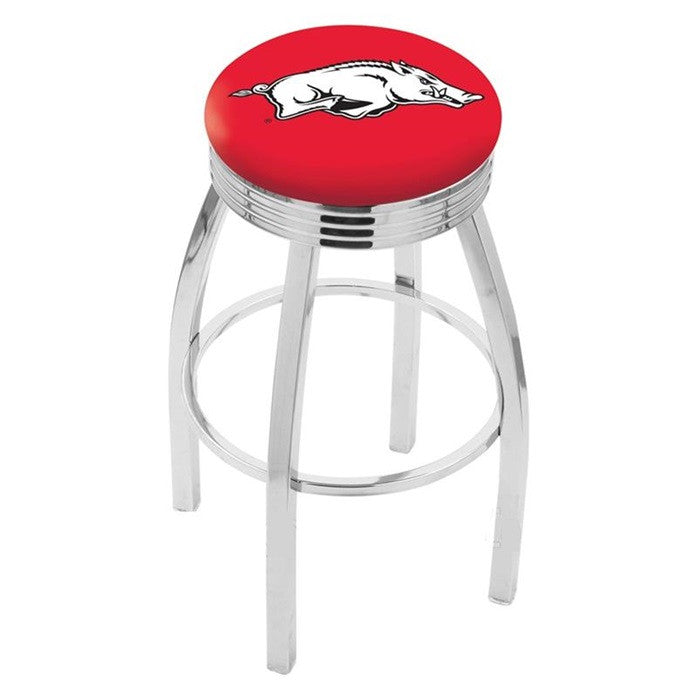 Arkansas Razorbacks Chrome Ribbed Ring Bar Stool - Sports Fans Plus