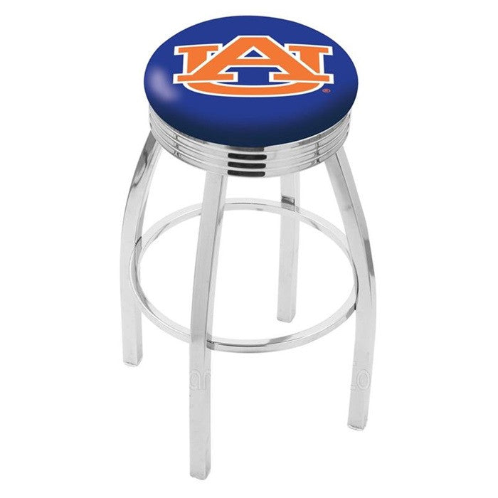 Auburn Tigers Chrome Ribbed Ring Bar Stool - Sports Fans Plus