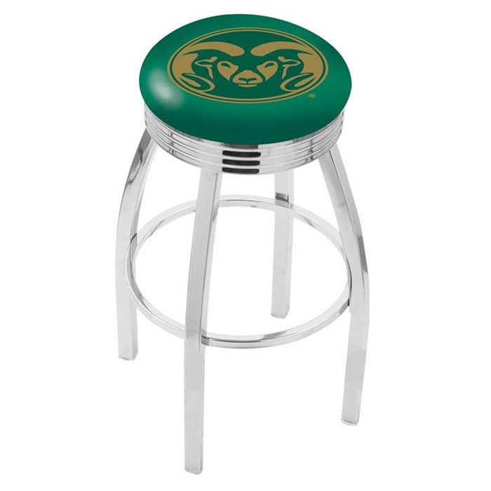 Colorado State Rams Chrome Ribbed Ring Bar Stool - Sports Fans Plus