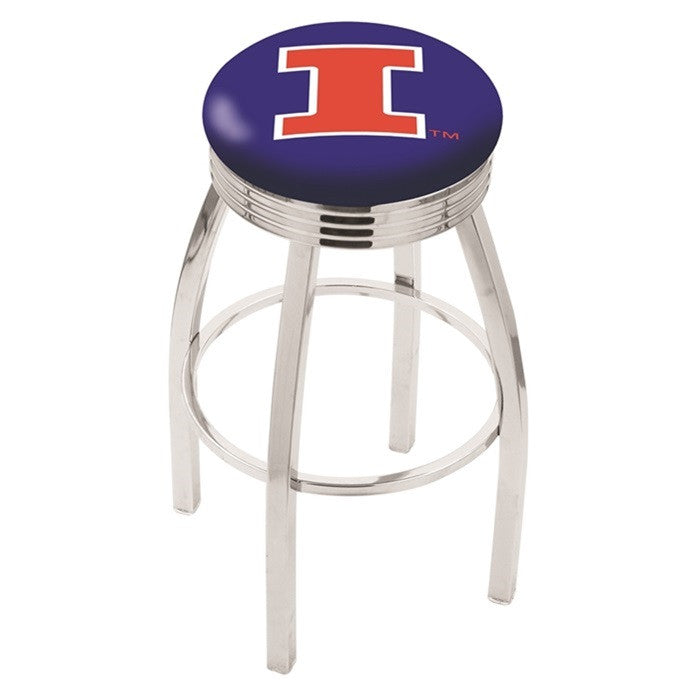 Illinois Fighting Illini Chrome Ribbed Ring Bar Stool - Sports Fans Plus